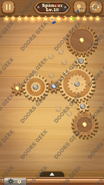 Fix it: Gear Puzzle [Spanner] Level 18 Solution, Cheats, Walkthrough for Android, iPhone, iPad and iPod