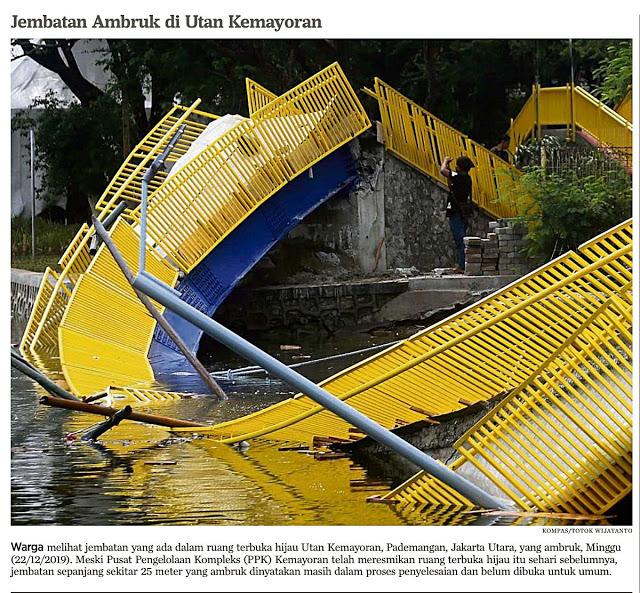 Jembatan Hutan Kemayoran Ambruk Salahkan Anies, Jokower & Ahoker Gol Bunuh Diri LagiJembatan Hutan Kemayoran Ambruk Salahkan Anies, Jokower & Ahoker Gol Bunuh Diri Lagi