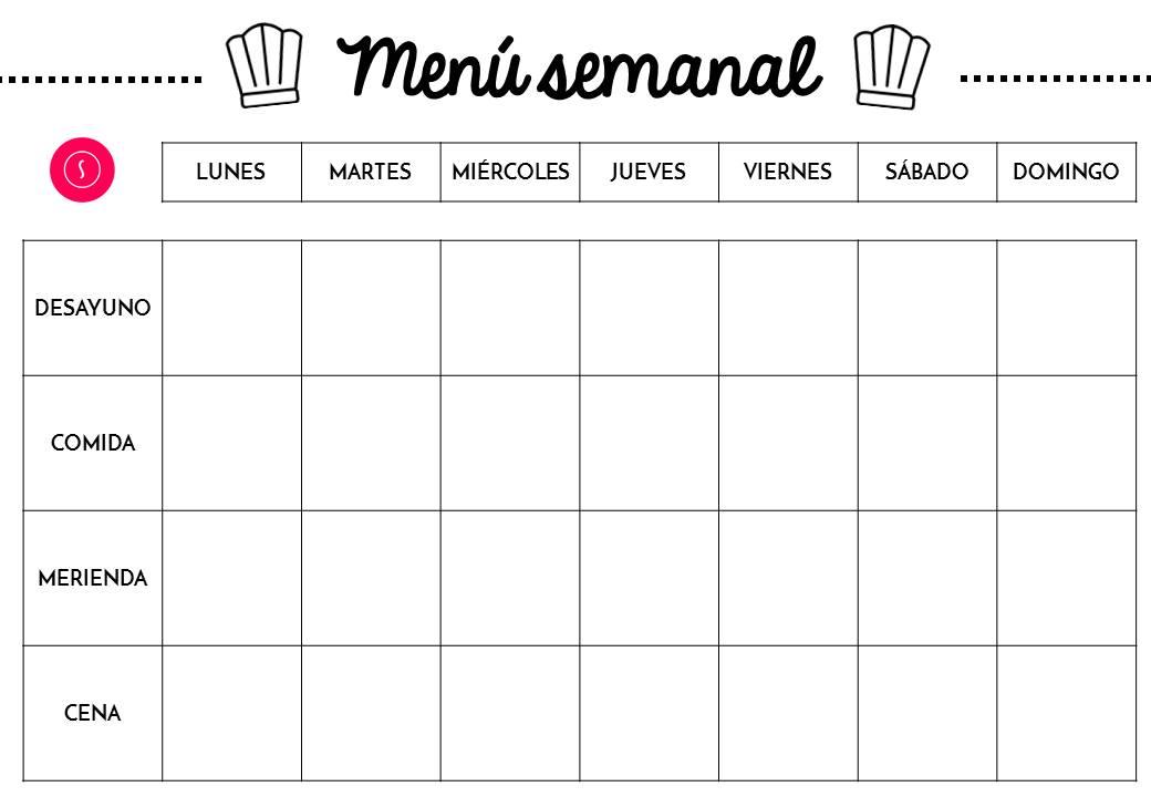 Planificador semanal de comidas men descargable for Menu para comida familiar