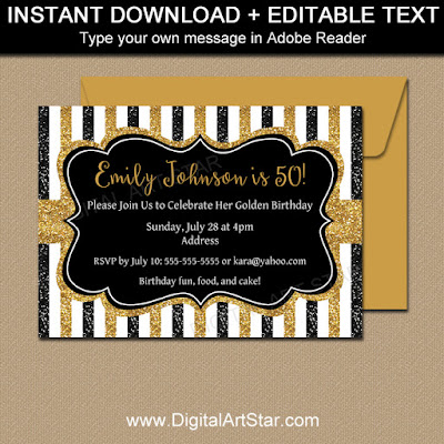 printable glitter birthday party invitation in black and gold with stripes