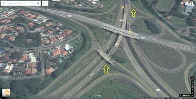 Atenção nas proximidades da Rodovia Dom Pedro I (SP-065): deve-se passar por baixo de dois viadutos para acessar o sentido correto, entre Jacareí e Campinas, mantendo-se na pista do anel viário até o fim.