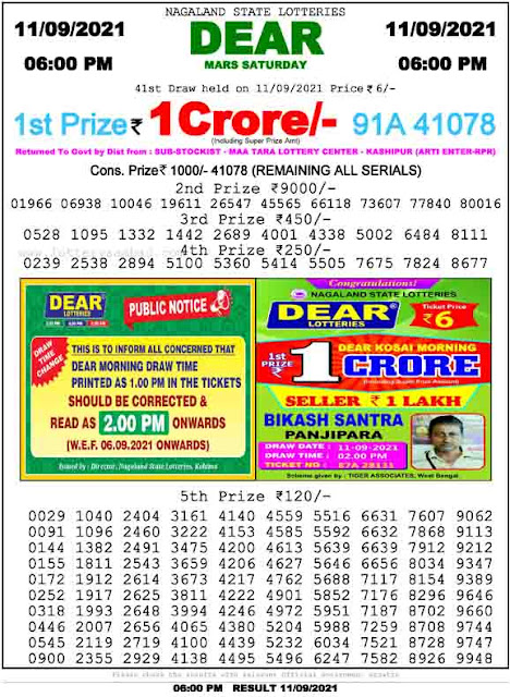 Nagaland State Lottery Result 11.9.2021 Today