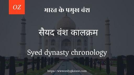 Syed dynasty chronology