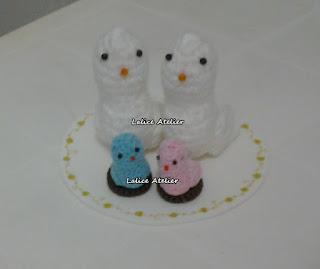 topo bolo pombinhos,topo bolo amigurumi,topo bolo casal passarinhos,topo bolo passarinhos com filhotes