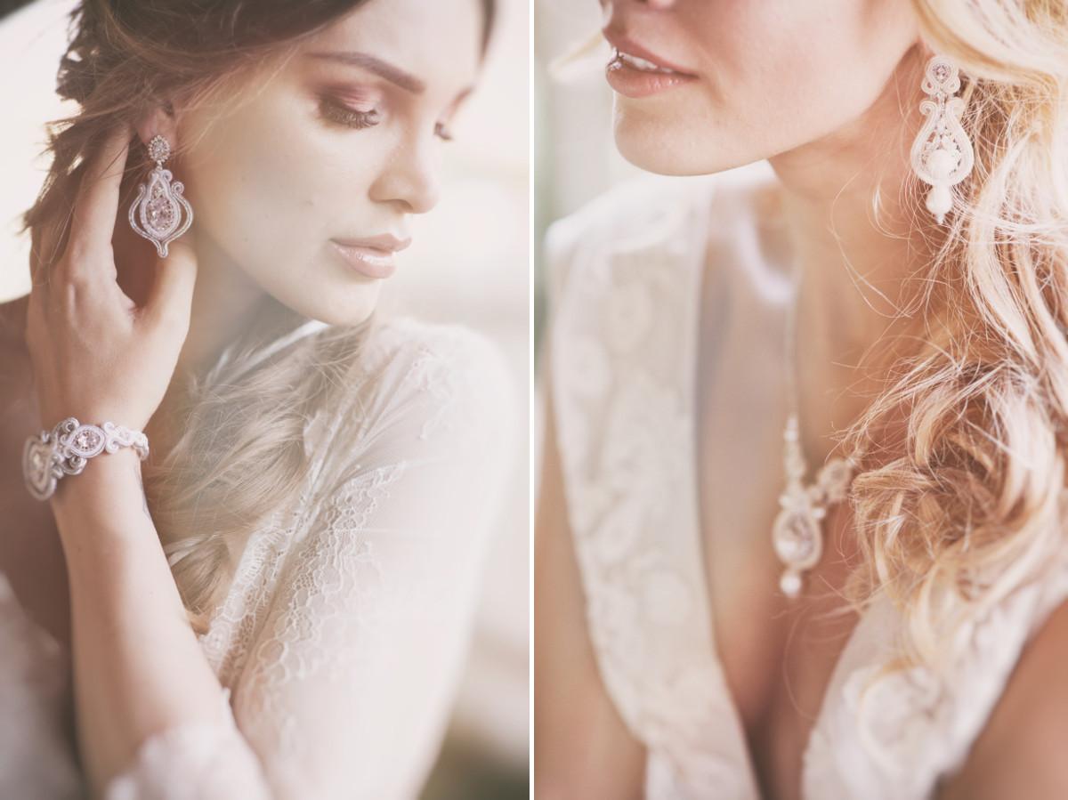 Biżuteria ślubna sutasz, komplet.