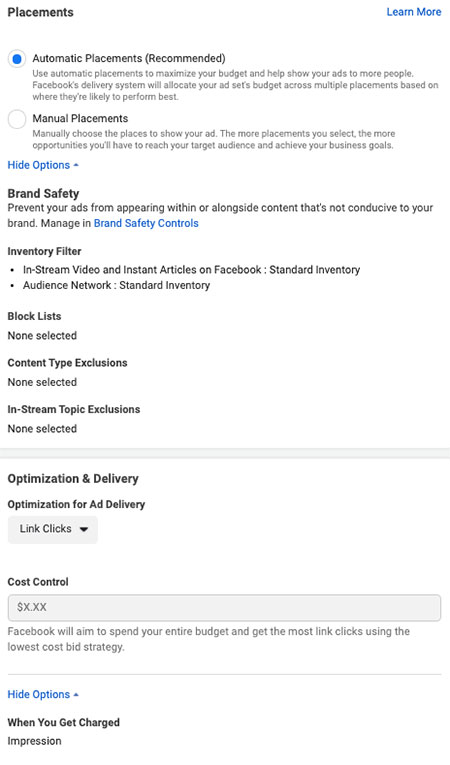 Facebook ad placements, optimization, and delivery: eAskme