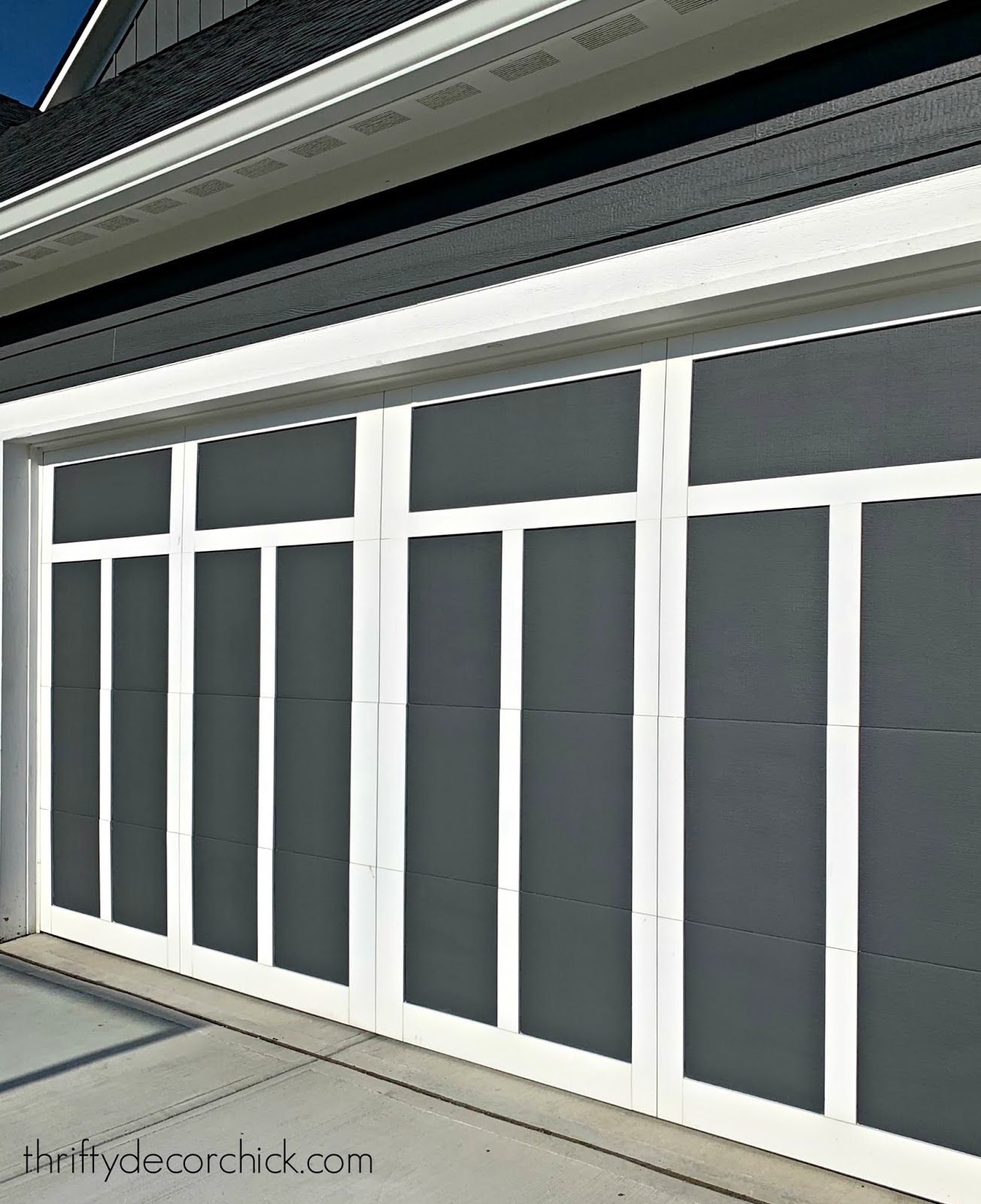 gray white Craftsman garage doors