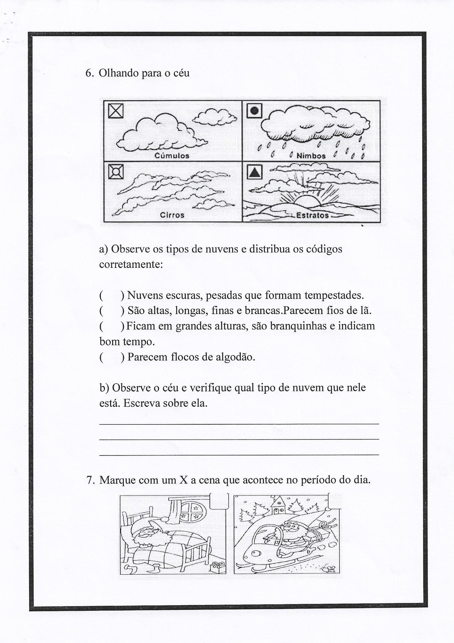 Atividade de Ciências: Sol, céu e nuvens - Ensino Fundamental