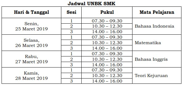 Jadwal UN SMK 2019
