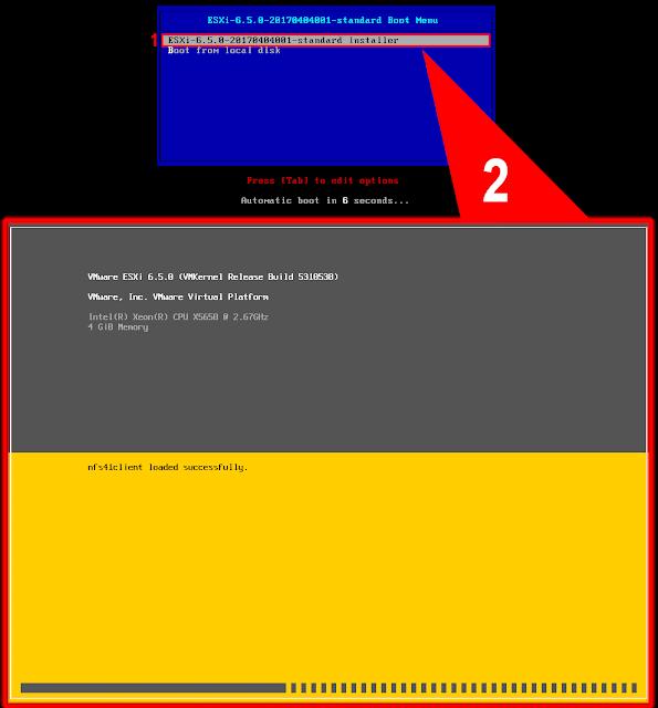 Boot Menú - VMware ESXi 6.5.0.