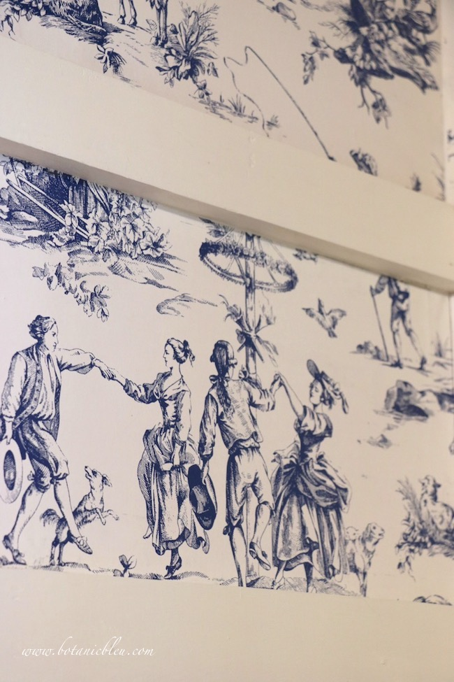 French Country Pantry Makeover with spring dancing scene from Seasons Toile Wallpaper