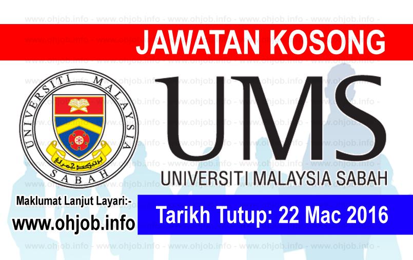 Jawatan Kerja Kosong Universiti Malaysia Sabah (UMS) logo www.ohjob.info mac 2016