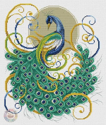 peacock with cross-stitch patterns