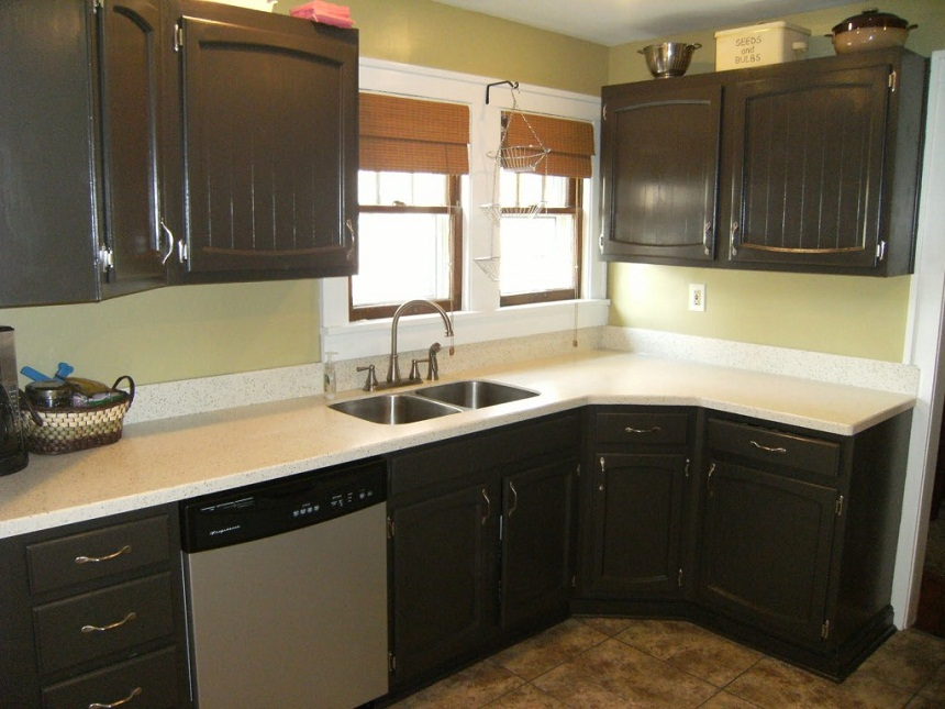 black painted kitchen cabinets with double sink