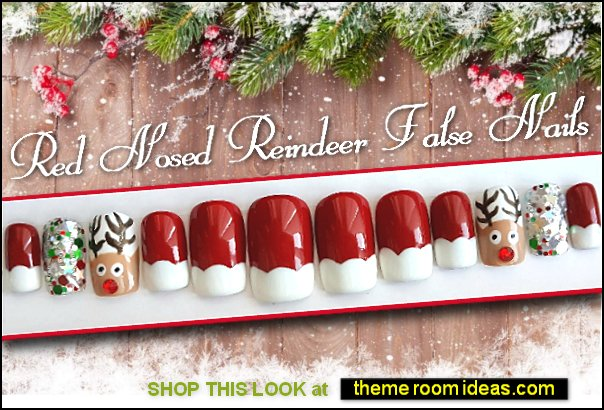 Swarovski Red Nosed Reindeer nails Christmas nails Santa nails Rudolph nail art christmas decal stickers