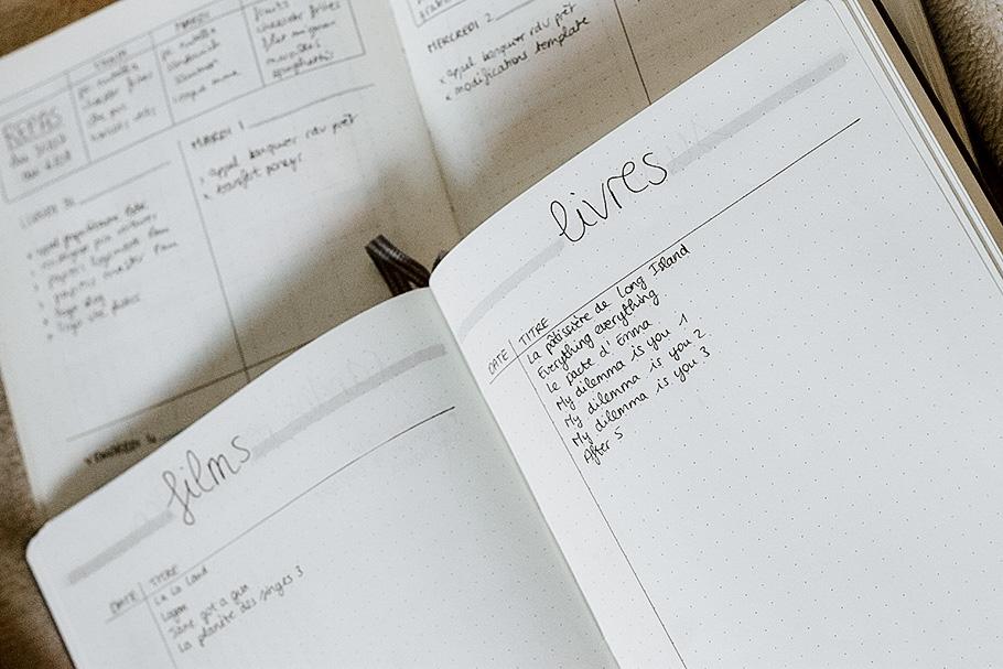 bullet journal productivité organisation