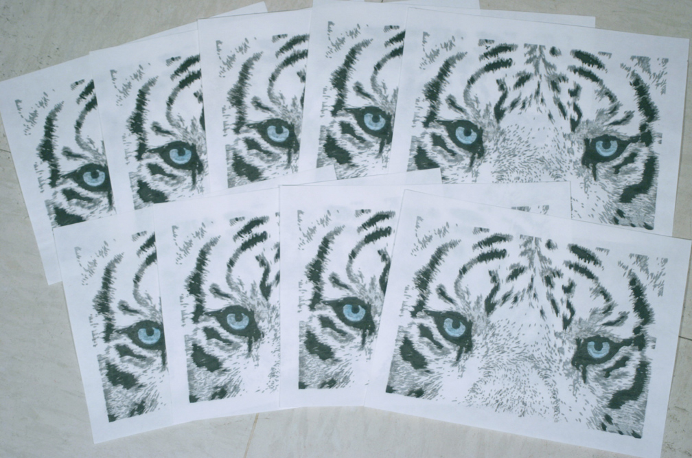 pigbristles white tiger woodblock print signed prints
