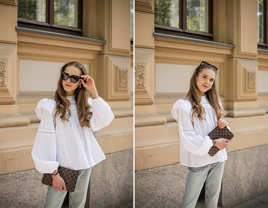 Klassinen ja minimalistinen asukokonaisuus farkkujen ja valkoisen paidan kanssa // Classic and minimalistic outfit with jeans and white top