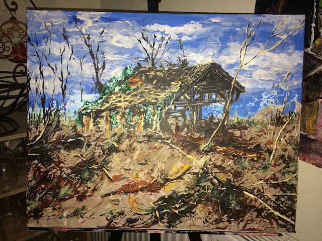 peinture d'une grange abandonnée en Dordogne, peinte par Karine Babel