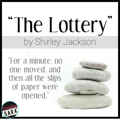 "The Lottery, by Shirley Jackson. ""For a minute, no one moved, and then all the slips of paper were opened."""