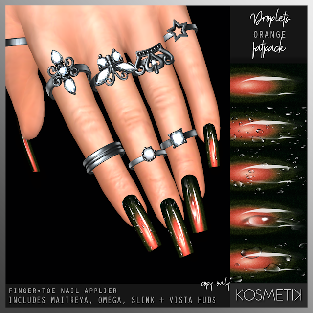KOSMETIK New Release - Droplets Orange Nails