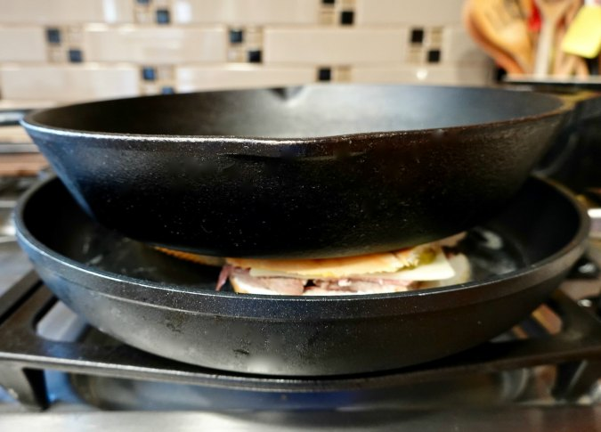 The Cuban Sandwich (The Cubano) with a cast iron press