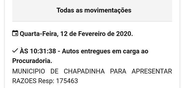 Associação dos ACSs vs Prefeitura de Chapadinha: Última movimentação