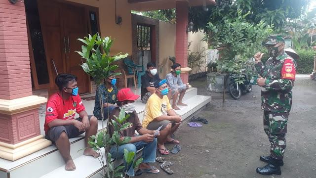Babinsa Koramil  Jogonalan Tak Henti Hentinya Sosialisasi Cegah Covid 19