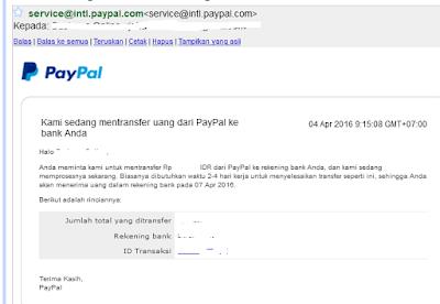 Bukti penarikan dana Paypal dengan status belum terverifikasi