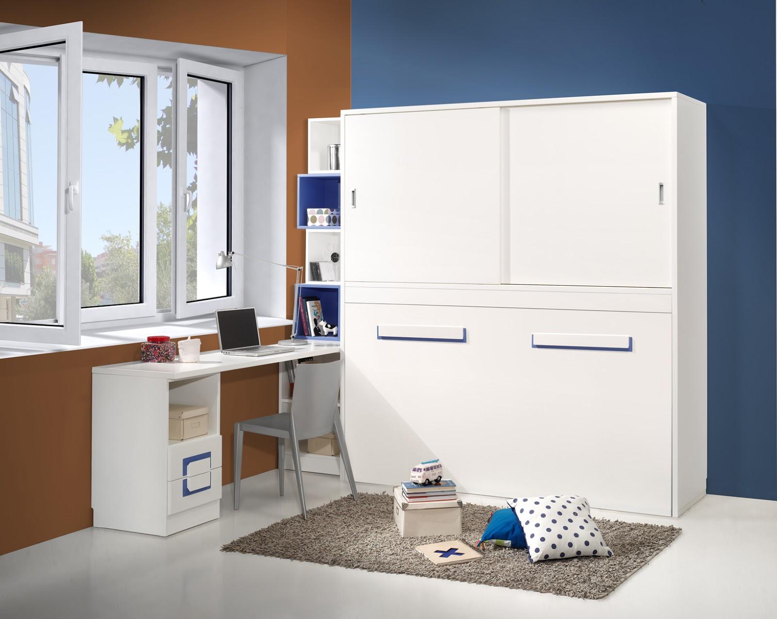Cama abatible con armario encima y puertas correderas - Habitaciones juveniles con cama abatible ...