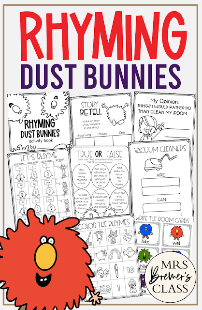 Rhyming Dust Bunnies book study literacy unit with Common Core aligned companion activities and a craftivity for Kindergarten and First Grade