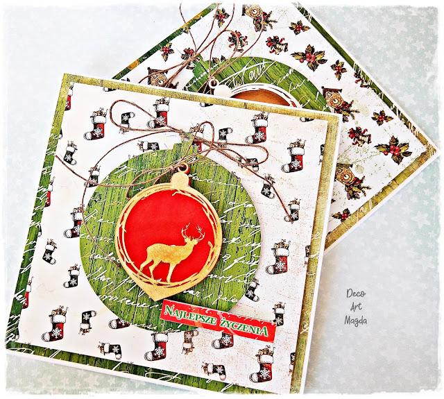 Świąteczne kartki z bombkami