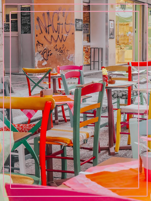 outdoor restaurant colourful seating