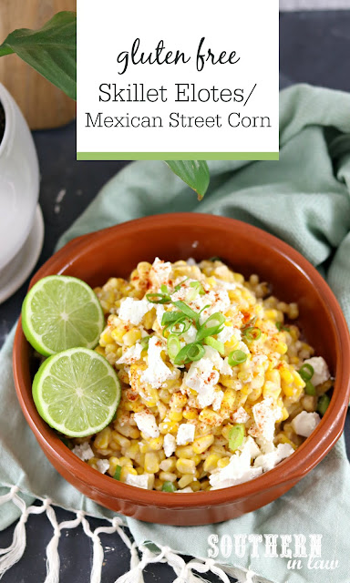 Skillet Elotes Mexican Street Corn Recipe - gluten free, low fat, clean eating recipe