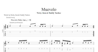 Muevelo de Nicky Jam & Daddy Yankee Partitura y Tablatura del Punteo de Guitarra Tabs