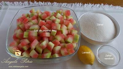 Dulceata din coji de pepene rosu - etapa 1