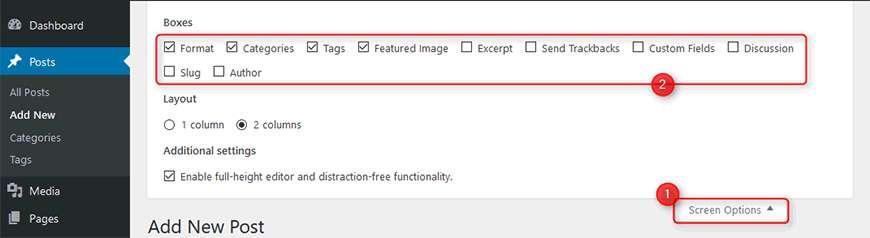 Screen Options posting WordPress