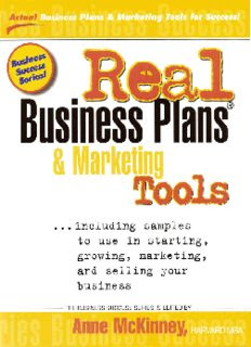 Real Business Plans & Marketing Tools: Including Samples to Use in Starting in pdf