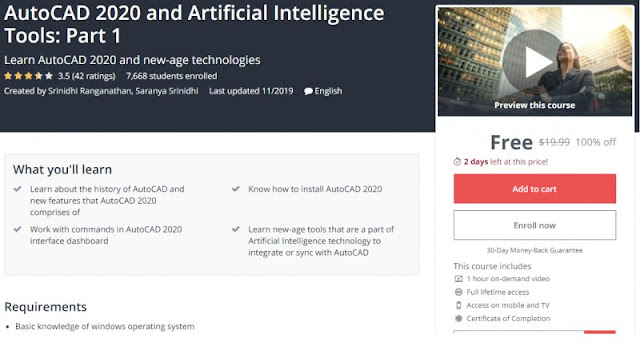 [100% Off] AutoCAD 2020 and Artificial Intelligence Tools: Part 1| Worth 19,99$