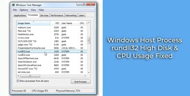 Windows Host Process rundll32 High Disk Usage Issue