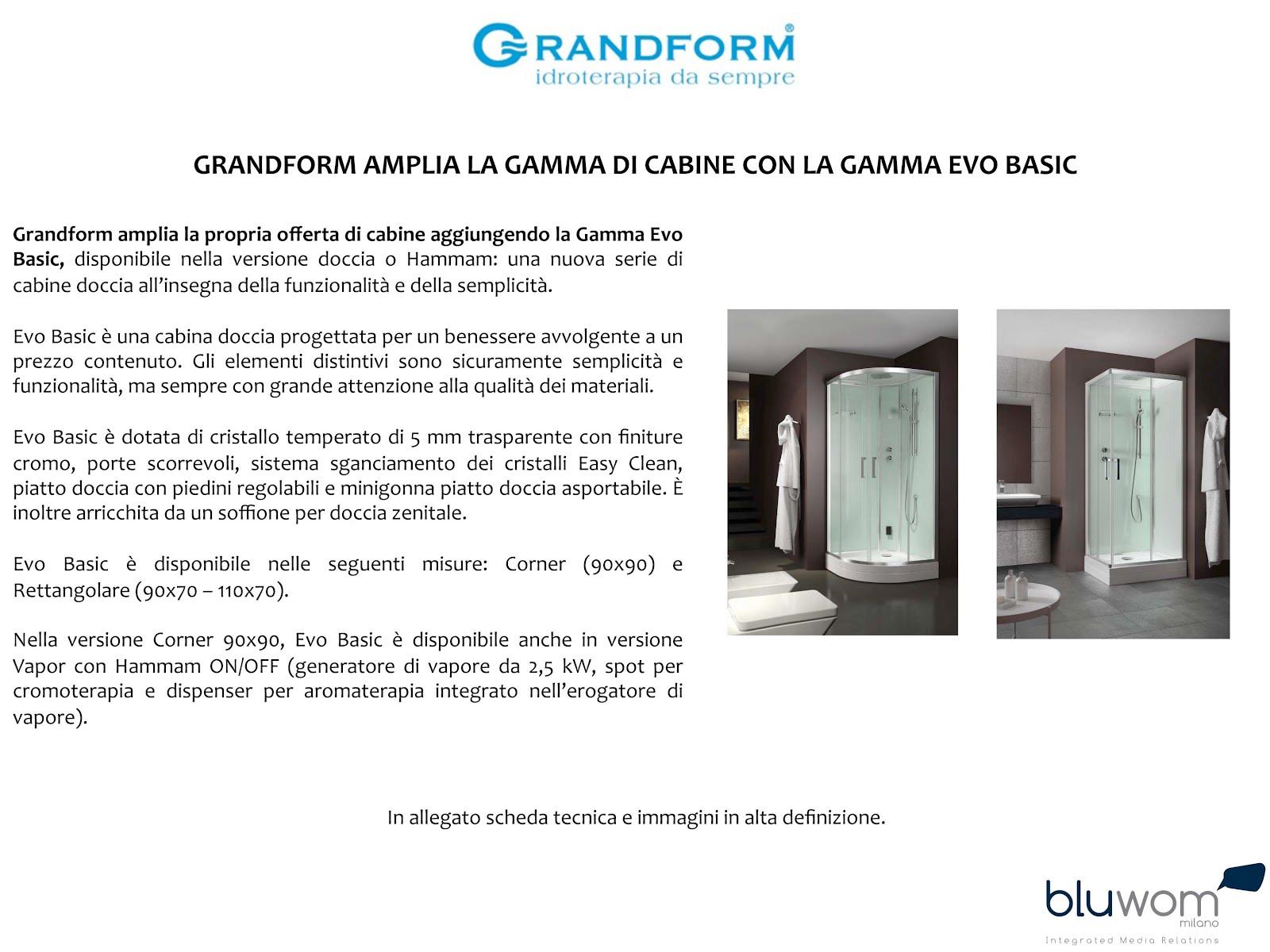 Cabina Doccia Evo Basic.Il Tuo Comunicato Stampa Grandform Amplia La Gamma Di Cabine Con La