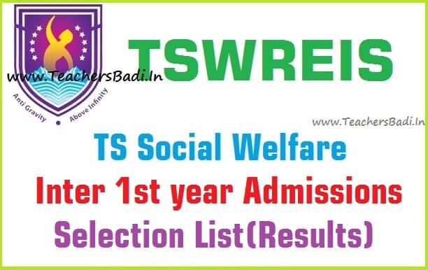 TSWREIS,Inter Admissions Selection list,Results,TS Social Welfare