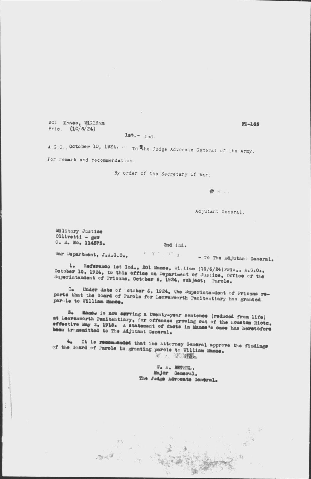 Criminal Genealogy Pvt William Mance Houston Tx