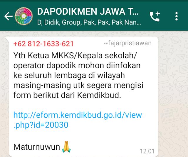 Kemendikbud meminta kepada Ketua MKKS Kepala Sekolah dan Operator Dapodik Untuk mengisi Form Awal Masuk Sekolah