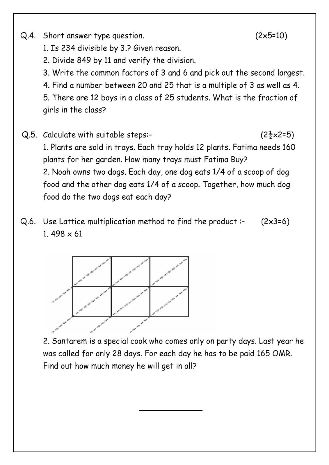 Birla World School Oman Revision Worksheets For Grade 4 B