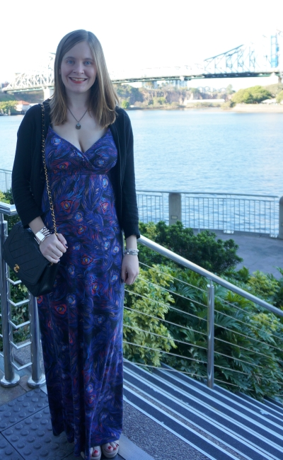 informal winter wedding guest outfit printed maxi dress Brisbane Story bridge | AwayFromBlue