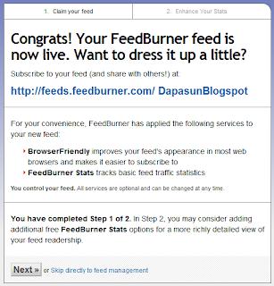 Pembuatan feedburner berhasil