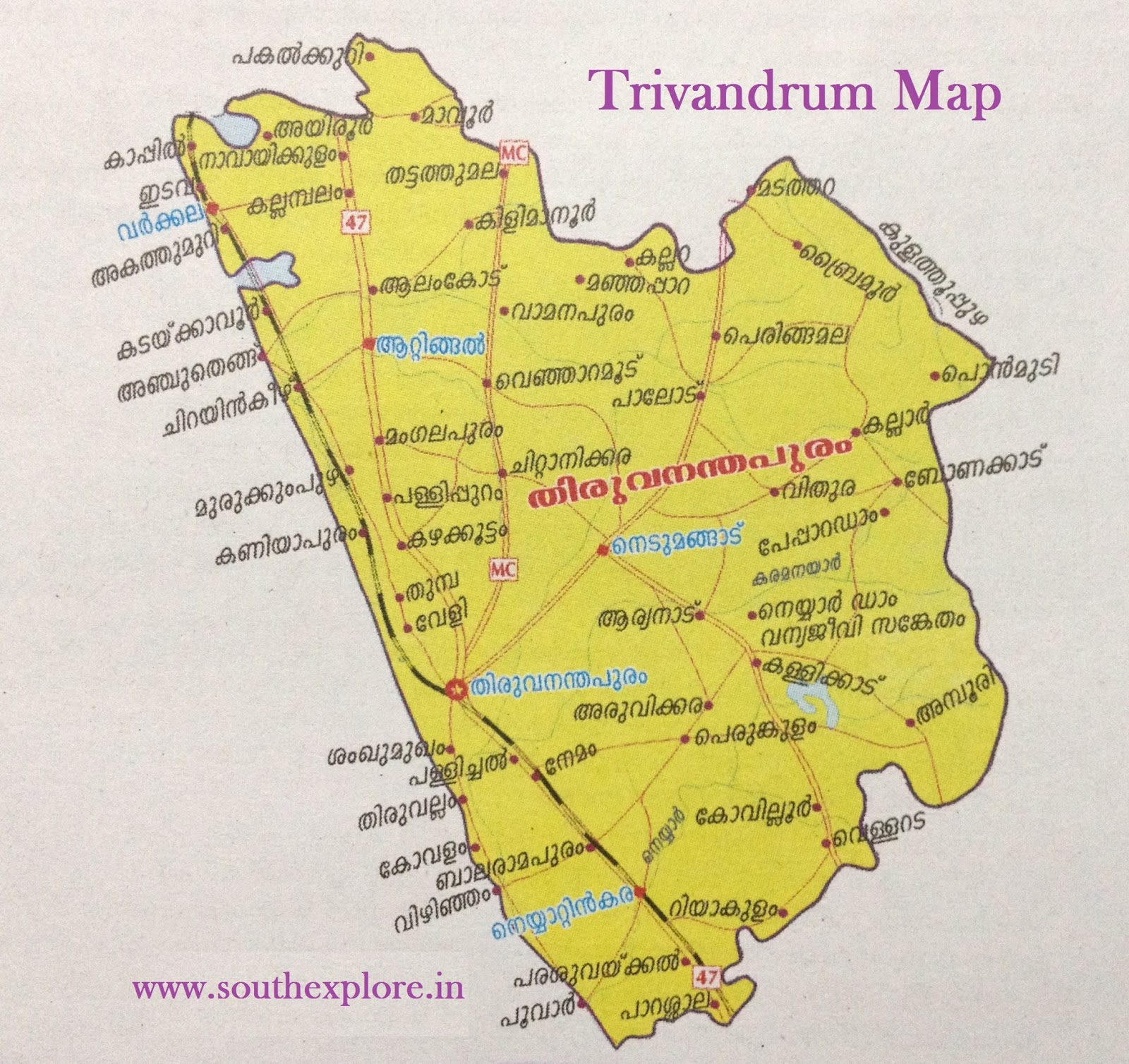 THIRUVANANDHAPURAM TOURIST MAP – South India Map With Tourist Places