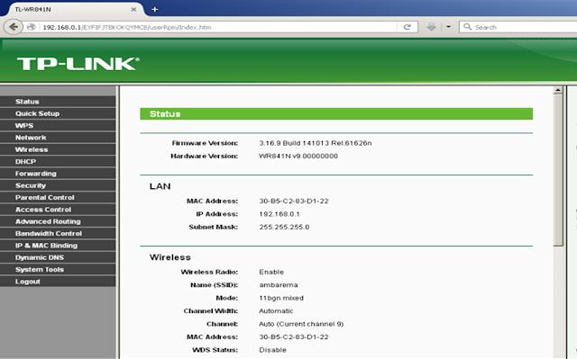 cek hasil konfigurasi PPPoE tp-link dihalaman status