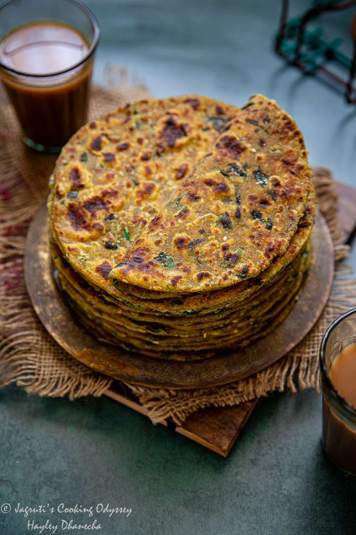 Millet and fenugreek flatbreads served with masala chai